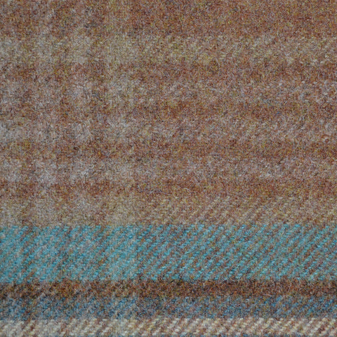 Light Brown with Dark Brown and Blue Plaid Check Coating