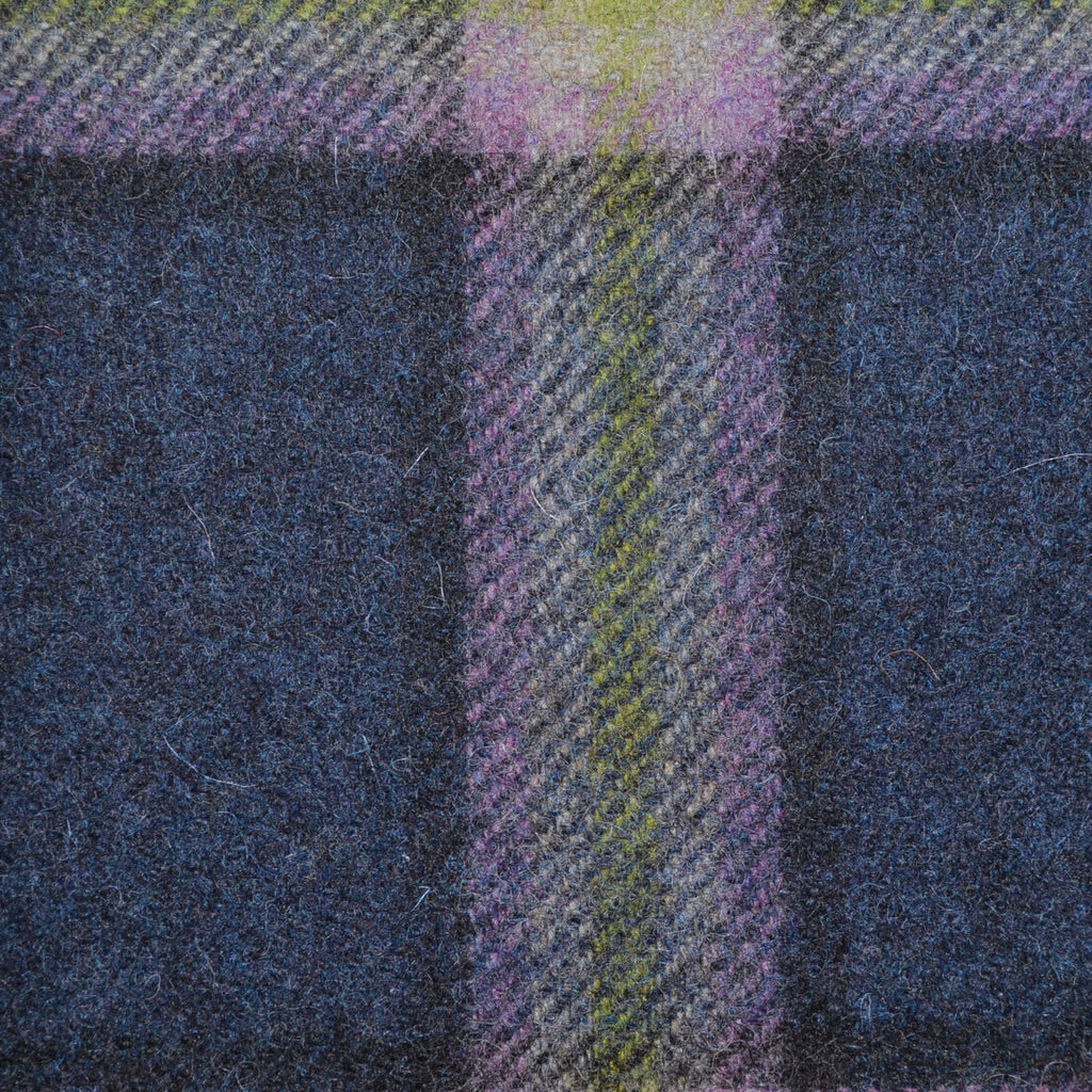 Medium Blue with Lilac and Green Plaid Check Coating