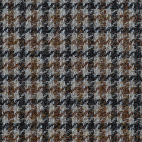 Beige with Blue & Brown Dogtooth Check Tweed