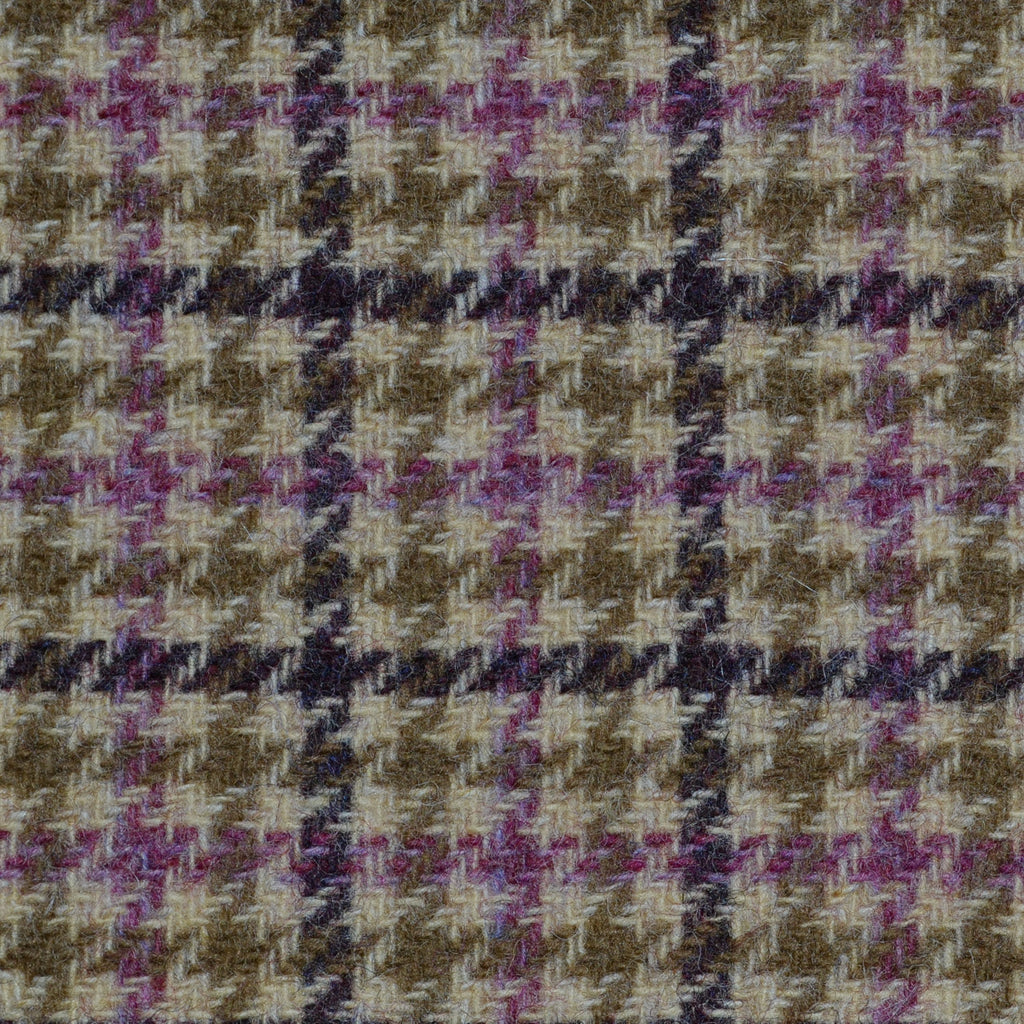 Beige with Blue, Pink & Brown Dogtooth Check Tweed