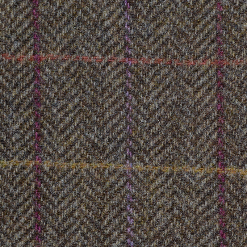 Moss Green Herringbone with Pink, Orange, Purple and Mustard Check Tweed
