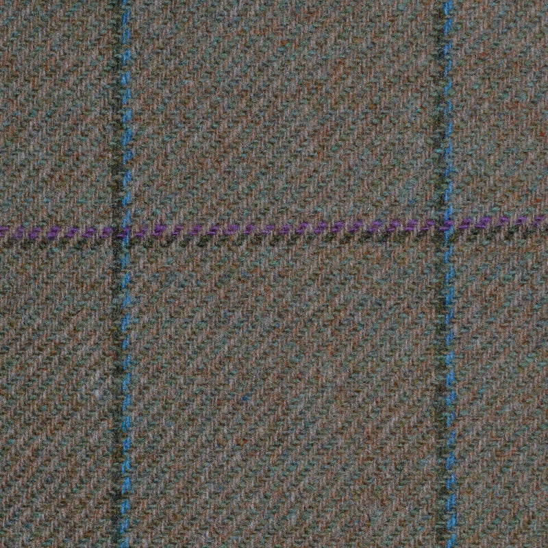 Moss Green with Pink, Green, Purple and Blue Check Tweed