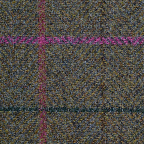 Moss Green Herringbone with Pink, Red, Brown and Green Check Tweed
