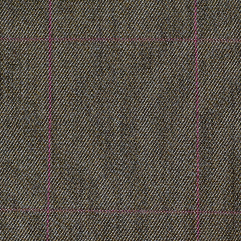 Khaki with Pink Check All Wool Covert Coating