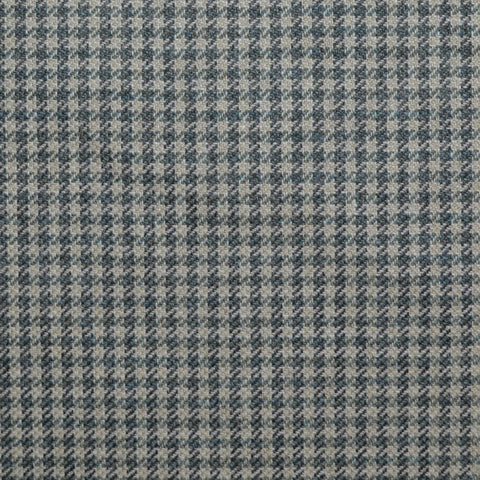 Beige and Sage Green Small Check Wool, Cotton & Cashmere