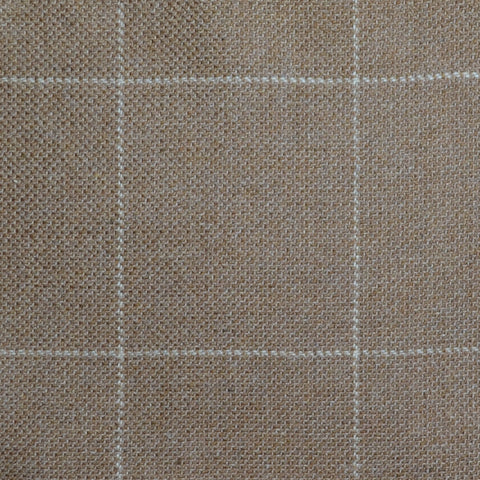 Light Brown with Beige Window Pane Check Wool, Cotton & Cashmere