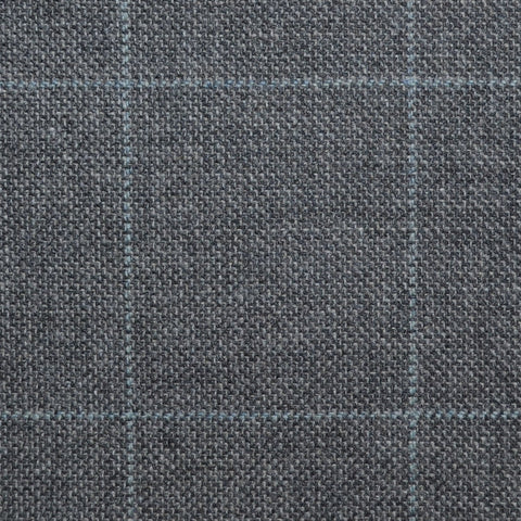 Medium Grey with Pale Blue Window Pane Check Wool, Cotton & Cashmere