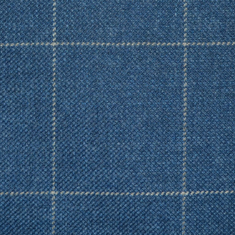 Medium Blue with Tan Window Pane Check Wool, Cotton & Cashmere