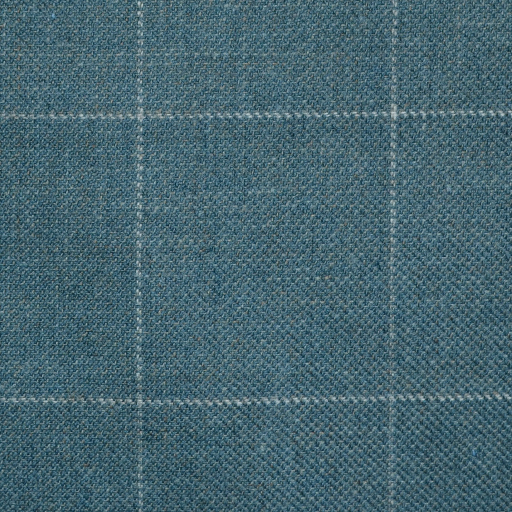 Denim Blue/Green with Grey Window Pane Check Wool, Cotton & Cashmere