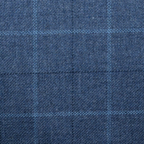 Medium Blue with Light Blue and Navy Blue Multi Check Wool, Cotton & Cashmere