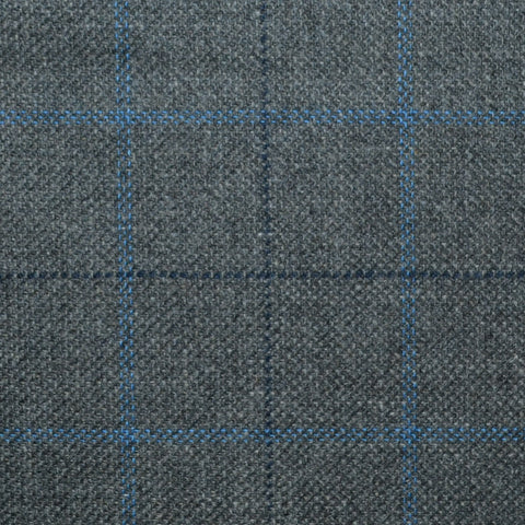 Dark Grey with Navy Blue and Royal Blue Multi Check Wool, Cotton & Cashmere