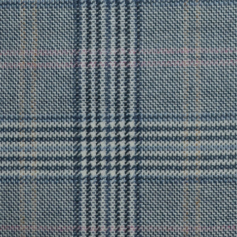 Grey and Blue with Light Brown and Pink Prince of Wales Check Wool, Cotton & Cashmere