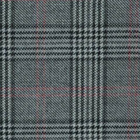 Dark Grey and Blue with Red Prince of Wales Check Wool, Cotton & Cashmere