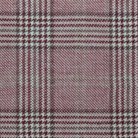 Pink with Grey and Burgundy Prince of Wales Check Wool, Cotton & Cashmere