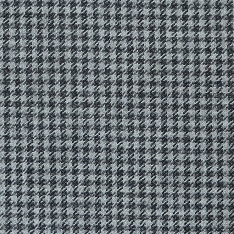 Grey and Navy Blue Dogtooth Check Wool, Cotton & Cashmere