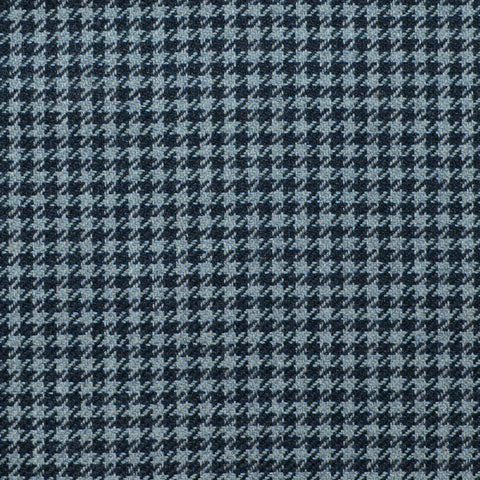 Denim Blue and Navy Blue Dogtooth Check Wool, Cotton & Cashmere