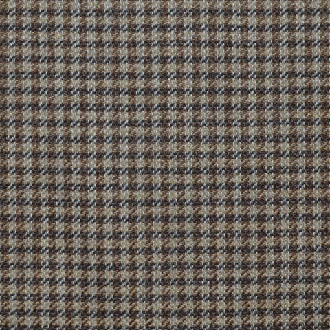 Brown, Sand and Dark Brown Dogtooth Check Wool, Cotton & Cashmere