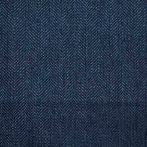 Bright Navy Blue Herringbone Wool, Cotton & Cashmere