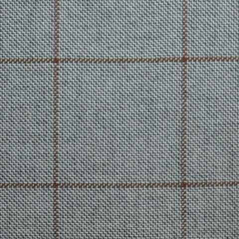 Beige with Brown Window Pane Check Wool, Cotton & Cashmere