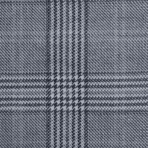 Grey and Dark Grey with Ice Blue Prince of Wales Check Wool, Cotton & Cashmere