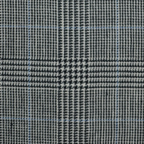 Grey and Dark Grey with Blue Prince of Wales Check Wool & Linen