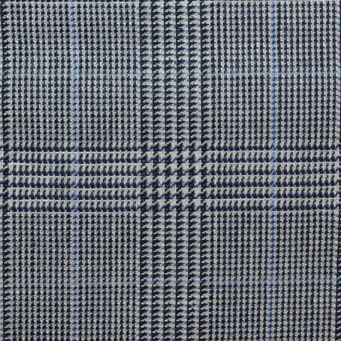 Grey and Navy Blue with Light Blue Prince of Wales Check Wool & Linen
