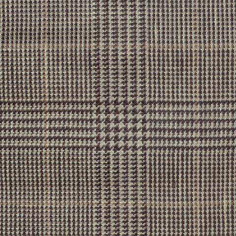 Brown and Dark Brown with Tan Prince of Wales Check Wool & Linen