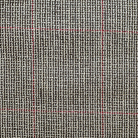 Brown and Dark Brown Pick and Pick with Red Window Pane Check Wool & Linen