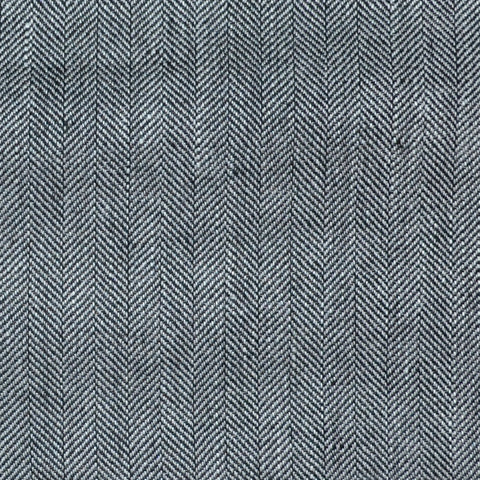 Grey and Navy Blue Herringbone Wool & Linen