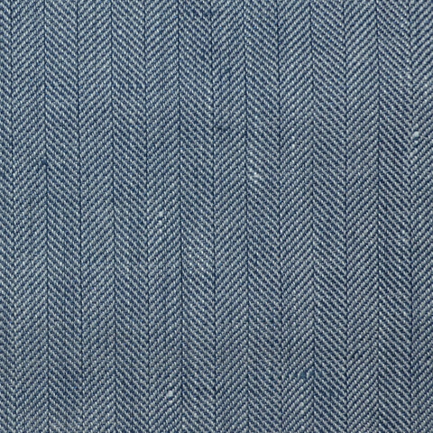 Denim Blue and Light Grey Herringbone Wool & Linen