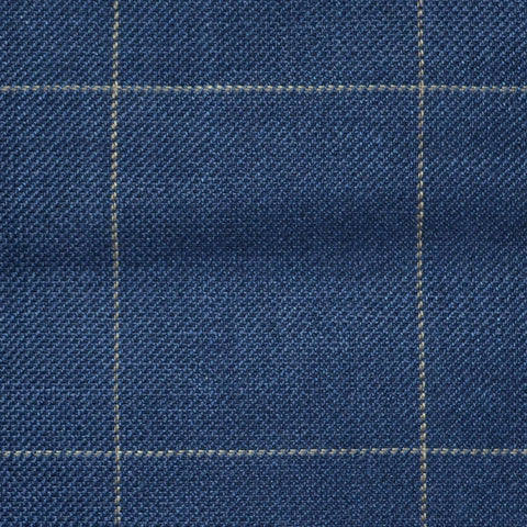 Bright Navy Blue and Dark Navy Blue Pick and Pick with Tan Window Pane Check Wool & Linen