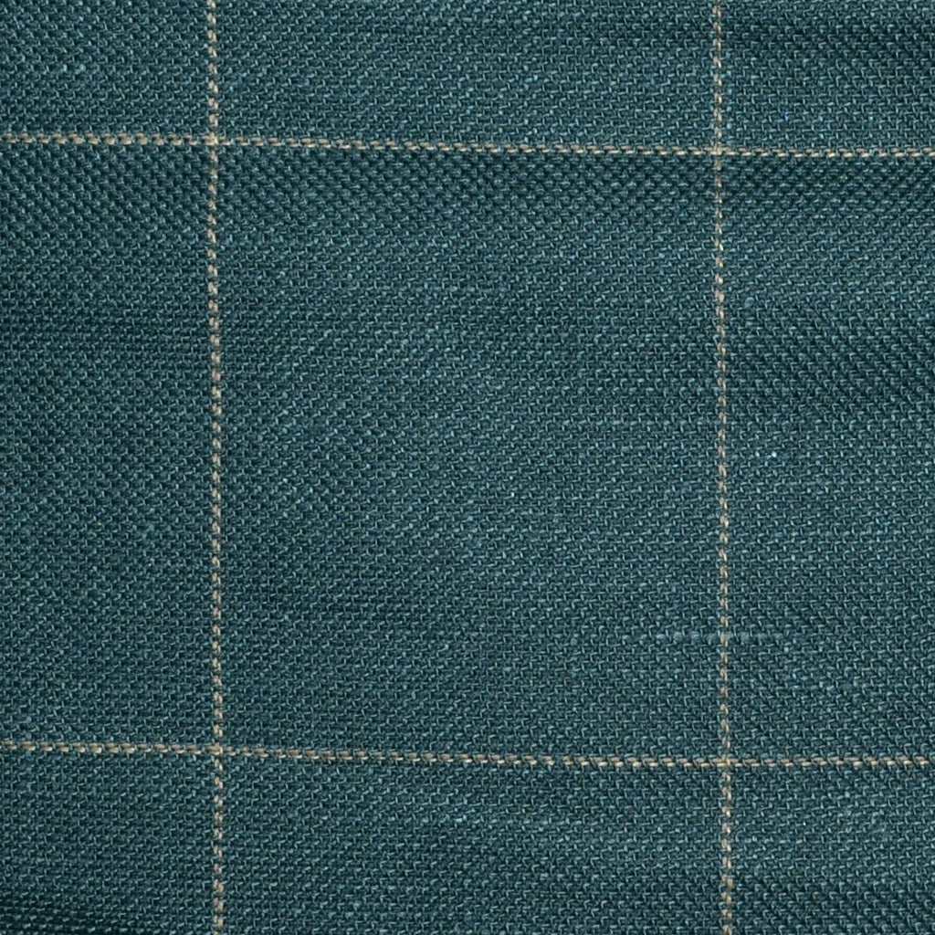 Dark Green and Bottle Green Pick and Pick with Tan Window Pane Check Wool & Linen