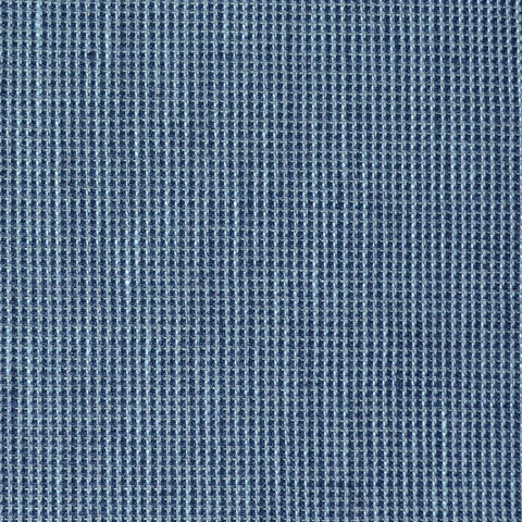 Denim Blue and Navy Blue Micro Check Wool & Linen