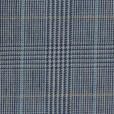 Light Brown and Navy Blue with Light Blue and Tan Prince of Wales Check Wool & Linen