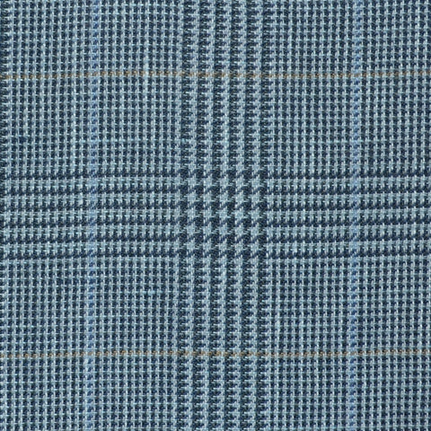 Light Blue and Navy Blue with Light Blue and Tan Prince of Wales Check Wool & Linen