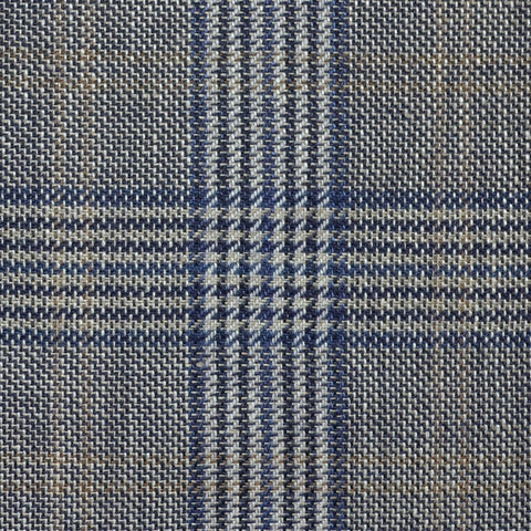 Denim Blue and Navy Blue with Tan Plaid Check Wool & Linen