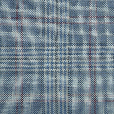 Light Blue and Grey with Red Plaid Check Wool & Linen