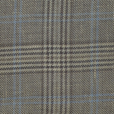 Light Brown and Beige with Blue Plaid Check Wool & Linen