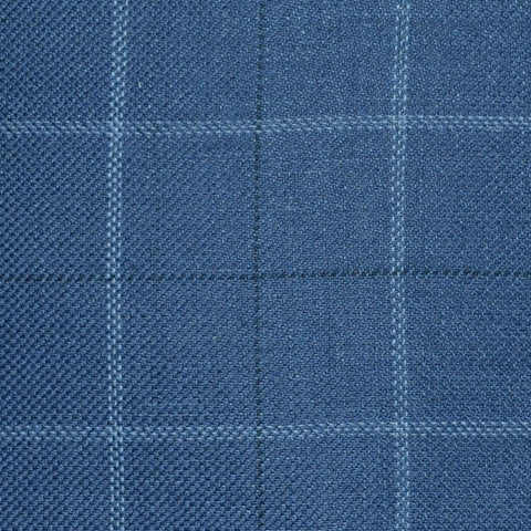 Medium Blue with Light Blue and Navy Blue Multi Check Wool & Linen
