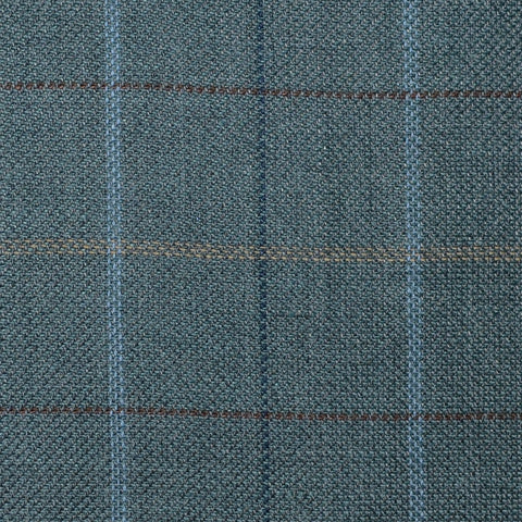 Green with Light Blue, Brown, Tan and Navy Blue Multi Check Wool & Linen