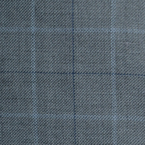 Grey with Light Blue and Navy Blue Multi Check Wool & Linen