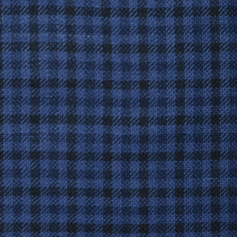 Royal Blue and Navy Blue Small Box Check Wool & Linen
