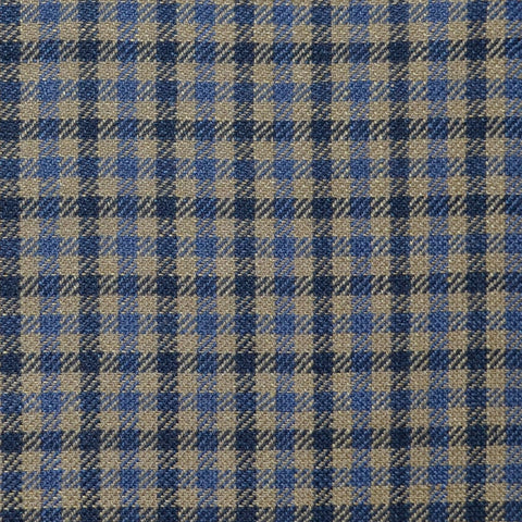 Light Brown, Royal Blue and Navy Blue Small Box Check Wool & Linen