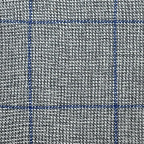 Medium Grey Pick and Pick with Royal Blue Window Pane Check Wool & Linen