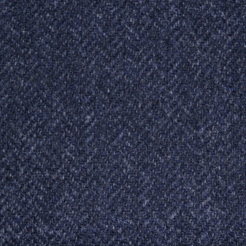 Dark Navy Blue Herringbone Lambswool Tweed