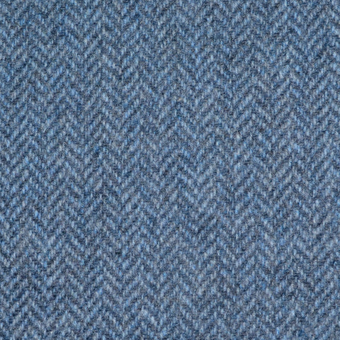 Light Blue Herringbone Lambswool Tweed
