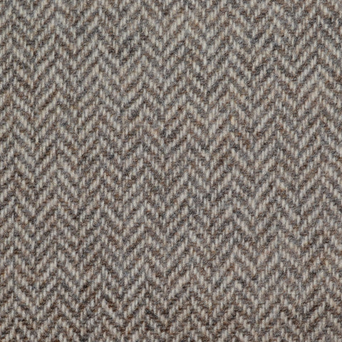 Beige/Brown Herringbone Lambswool Tweed