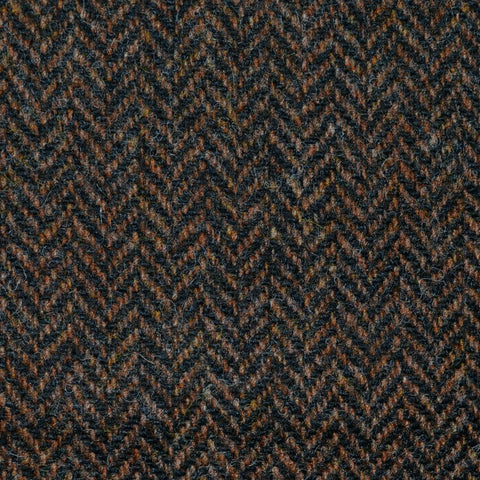 Dark Brown Herringbone Lambswool Tweed
