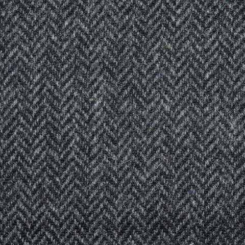 Charcoal Grey Herringbone Lambswool Tweed