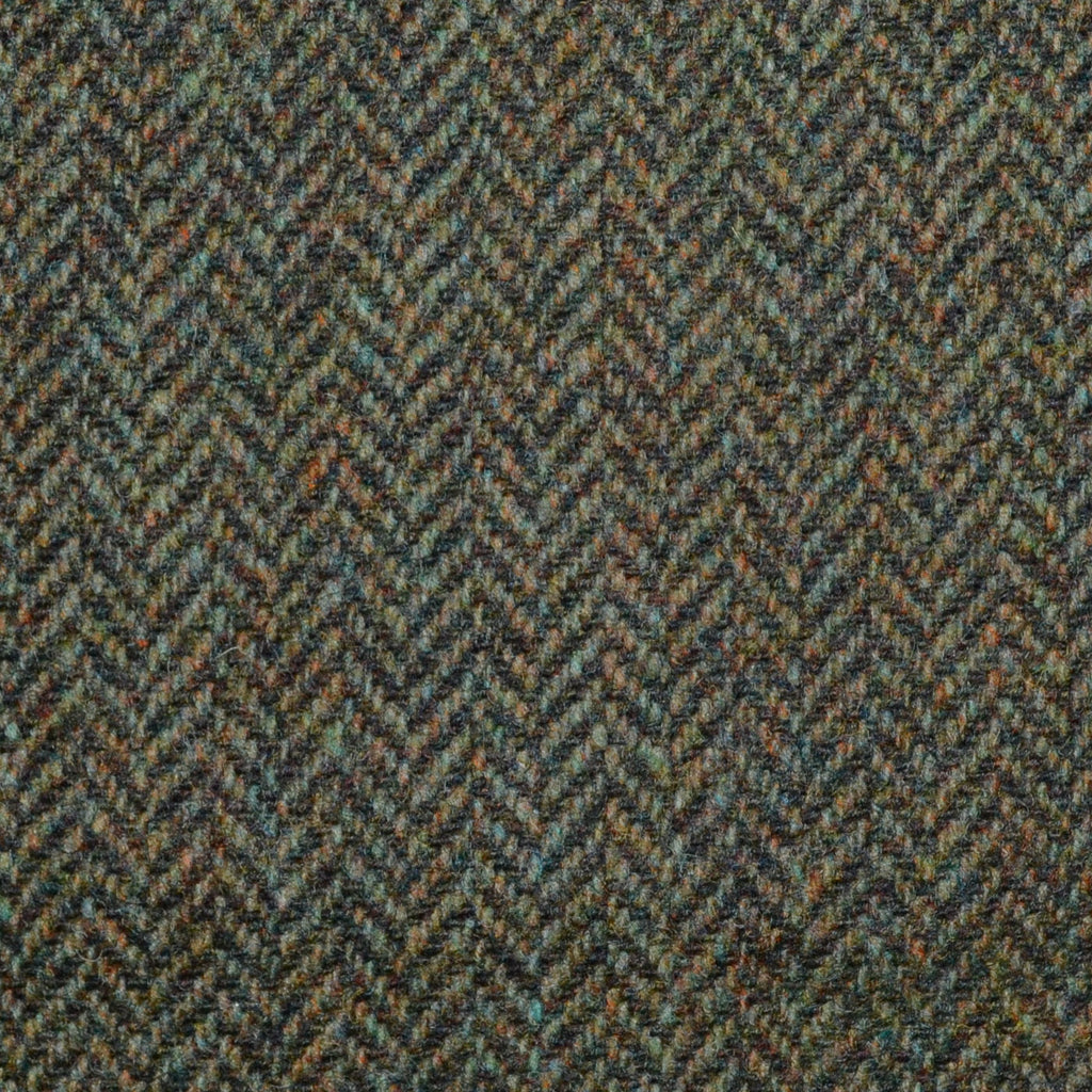 Green/Brown Herringbone Lambswool Tweed